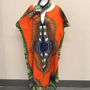 Traditional Print Zipper Kaftan